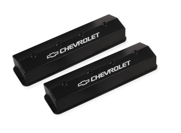 Holley 241-285 Chevy Bowtie Fabribcated Valve Covers Centerbolt SB Chevy V8/'s